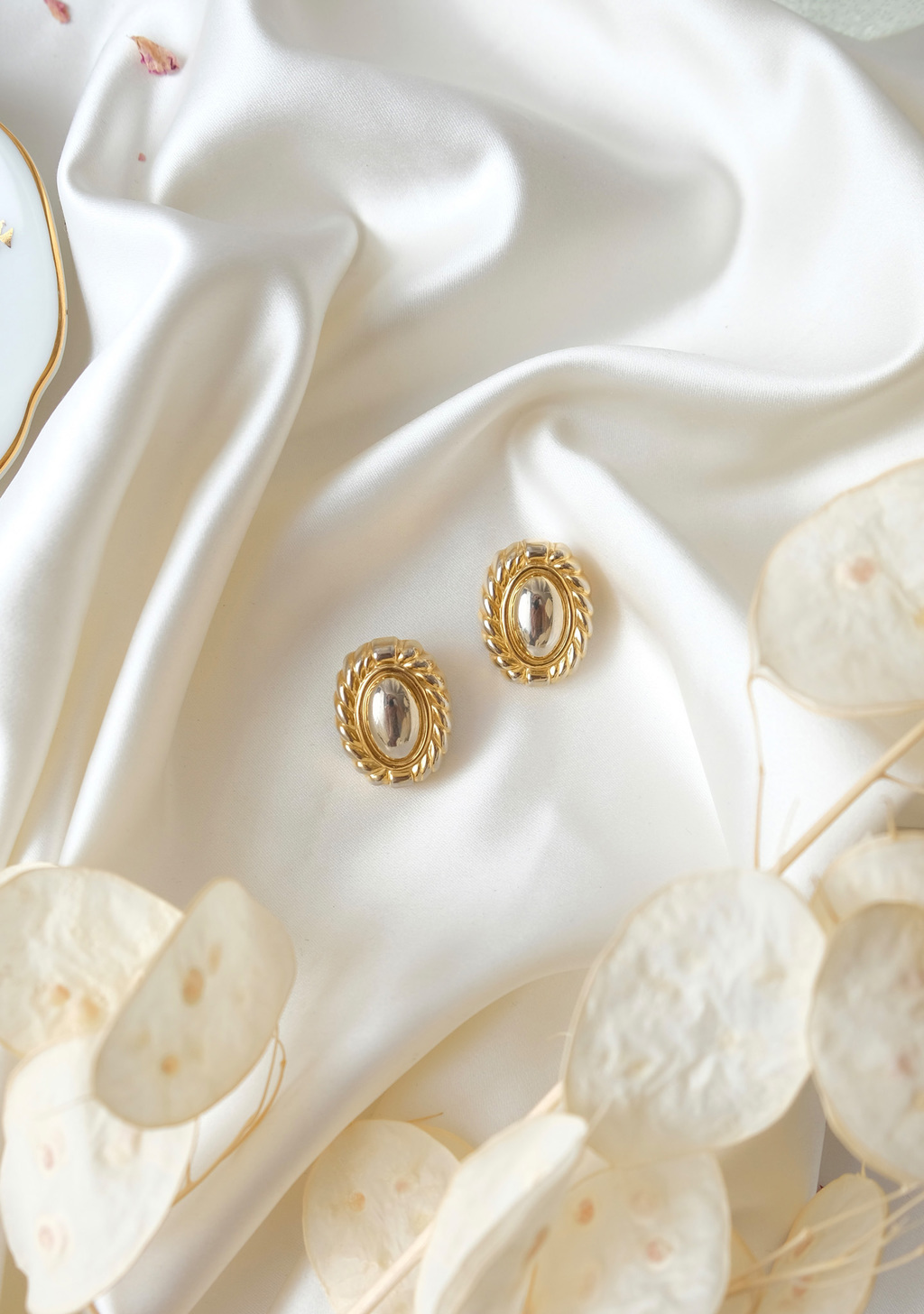 Gold tone oval clip ons