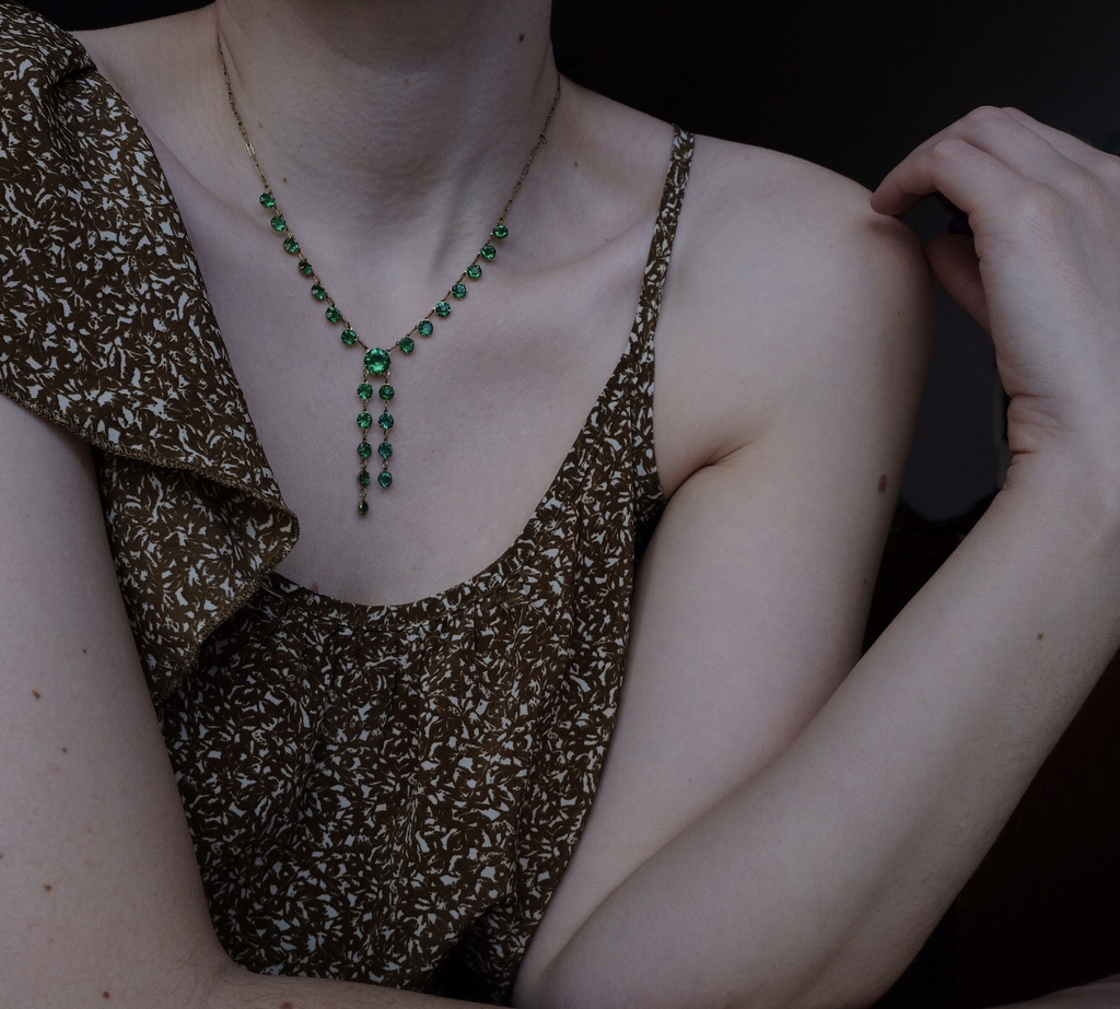 Green Art Deco Crystal Necklace