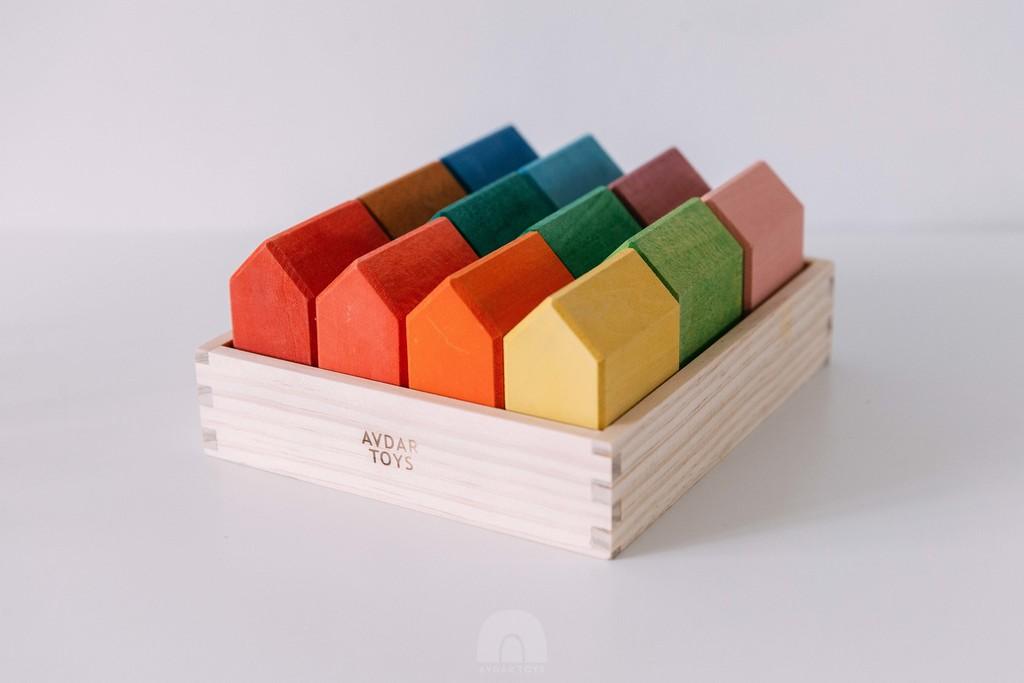 Rainbow house blocks