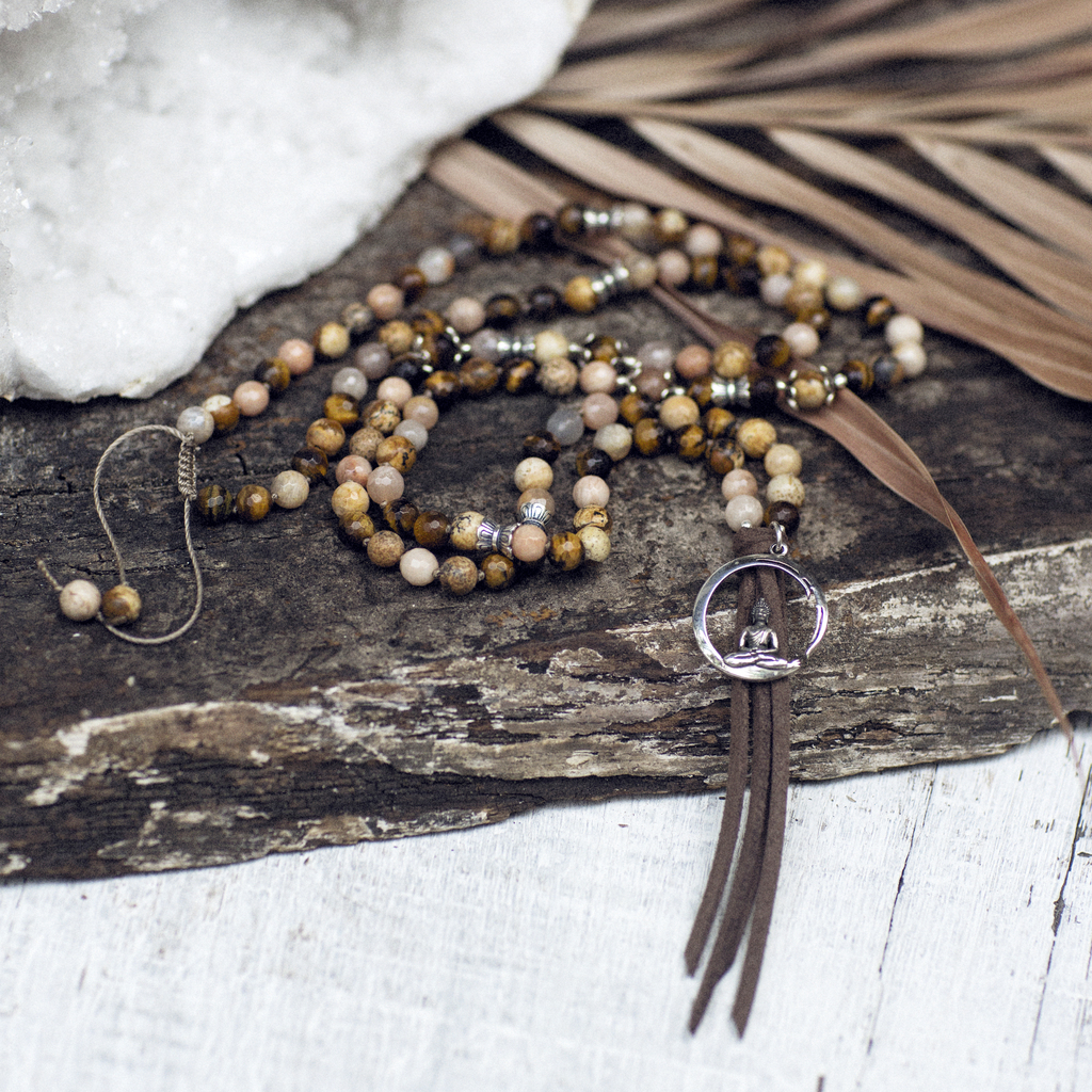 Tiger Eye, Moonstone and Jasper Mala with Enso Symbol Pendant