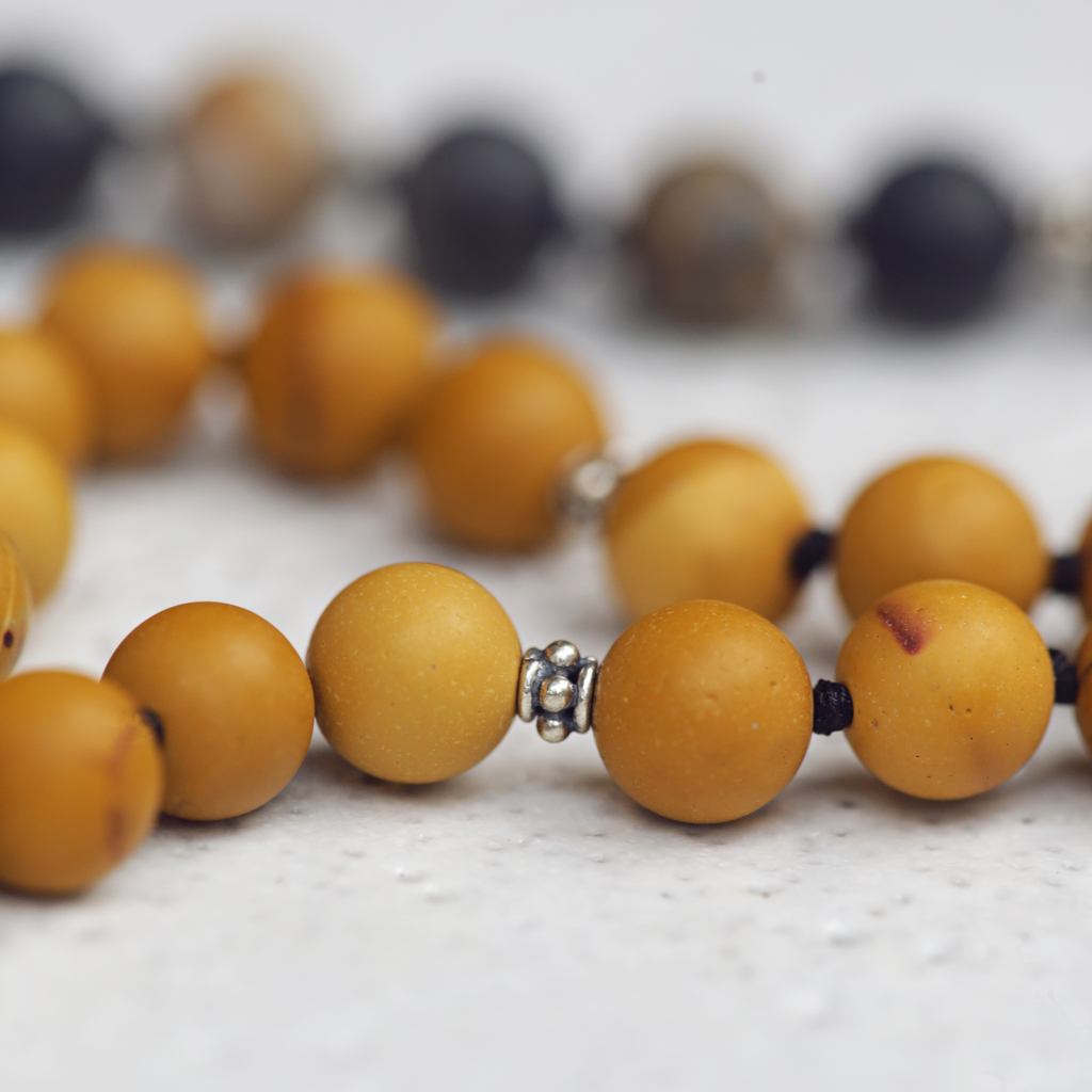 Matte Yellow Mookaite Jasper and Picasso Jasper Mala Beads | New Relationship Necklace