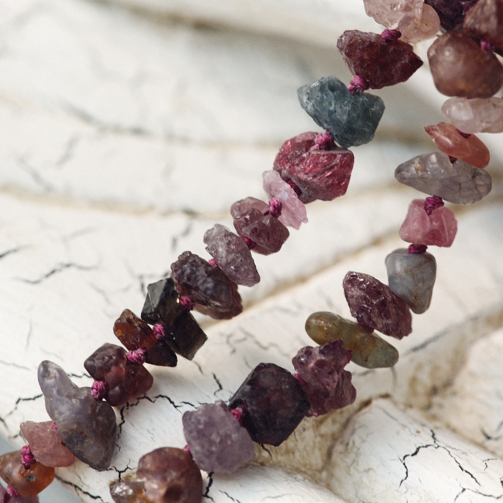Raw Spinel, Ruby, Sapphire Mala Beads with Stag Beetle Charm | Prosperity Necklace