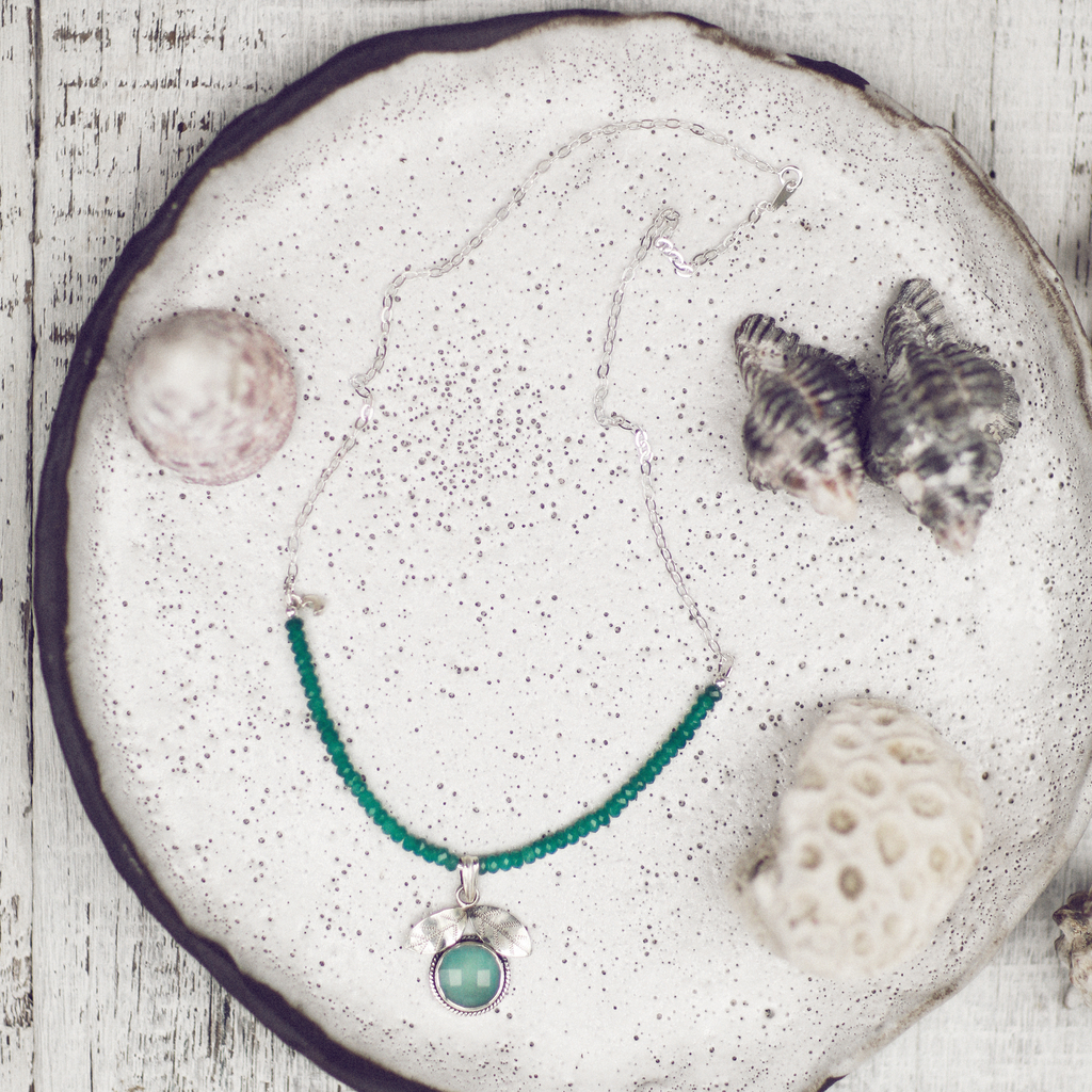 Aqua Chalcedony Flower Pendant with Emerald Beads | Aqua Blue Sterling Silver Necklace