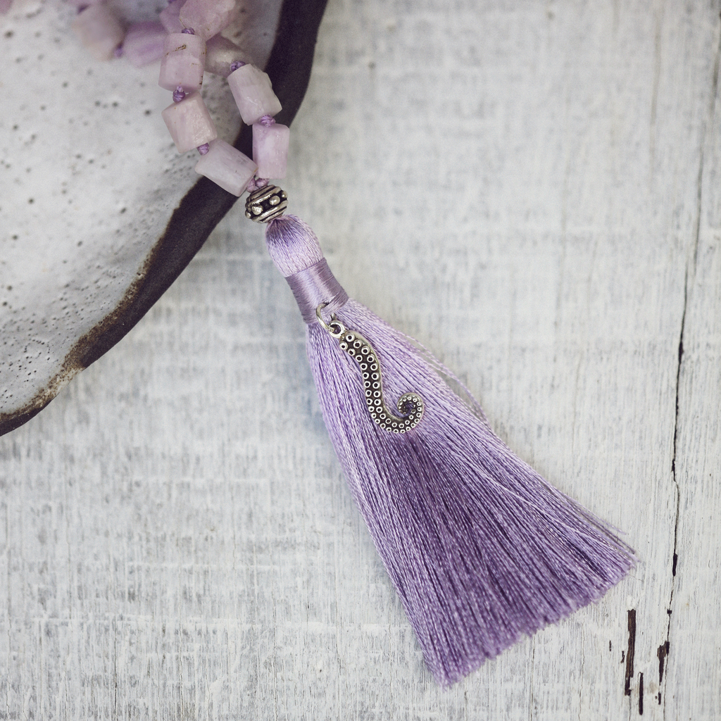 Raw Kunzite Mala Beads, Lavender Tassel Necklace | The Heart and Mind Connection Necklace