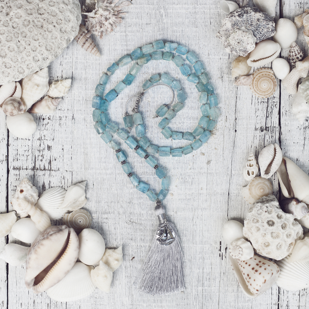 Raw Aquamarine Mala Beads with Artisan Sailboat Charm | Stress Relief Necklace