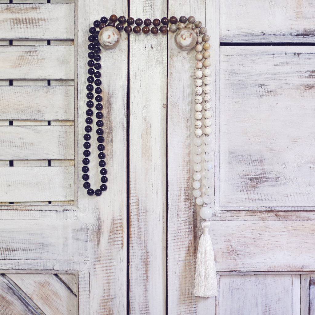 Earthy Tones Mala Beads, Shaded Necklace | Balance Necklace