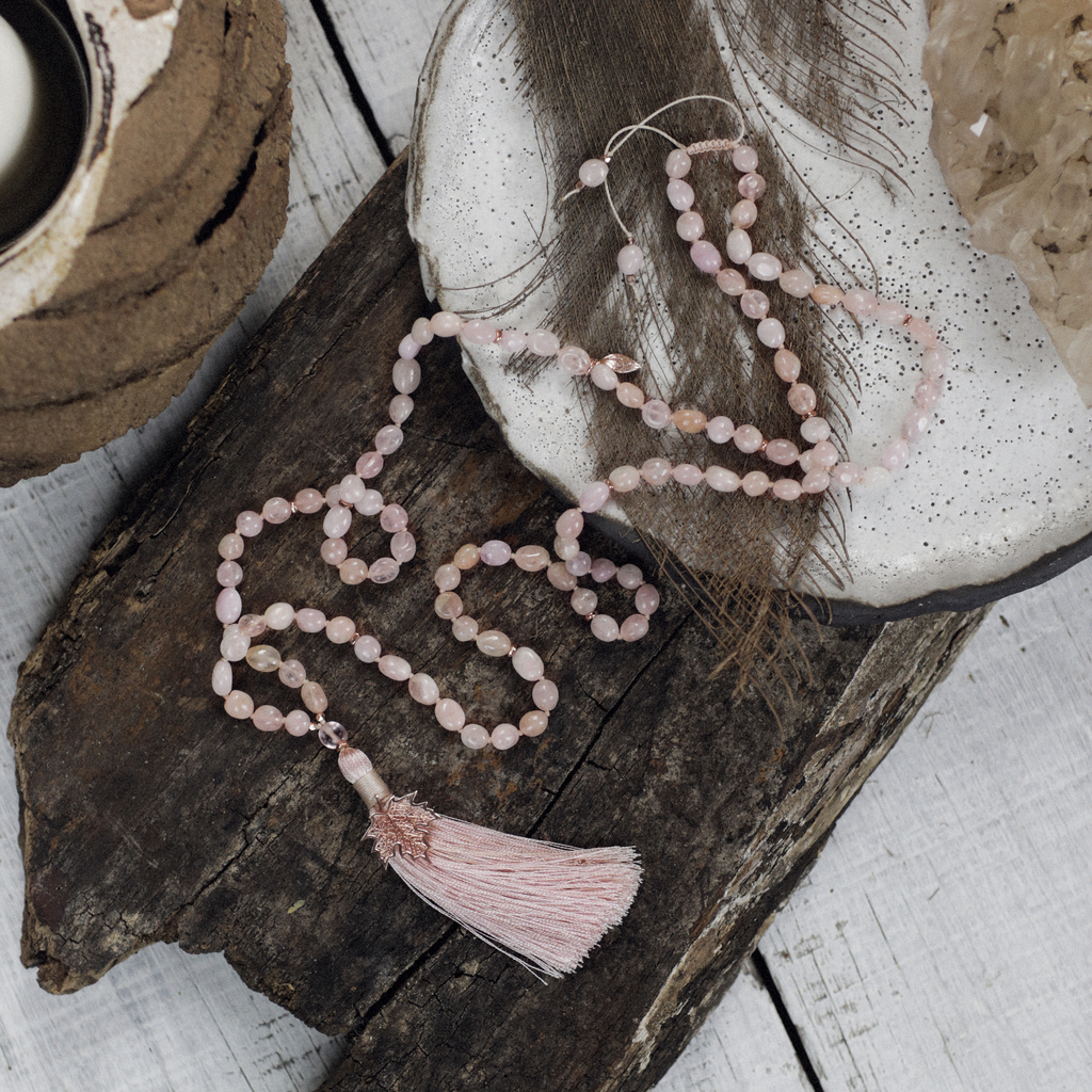 Freeform Genuine Morganite Mala Beads with Maple Leaf Pendant | Gentle Love Energy Necklace