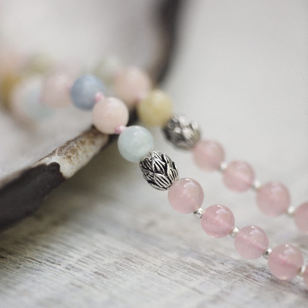 Madagascar Rose Quartz and Beryl Mala Beads with Lotus Beads | Love Necklace