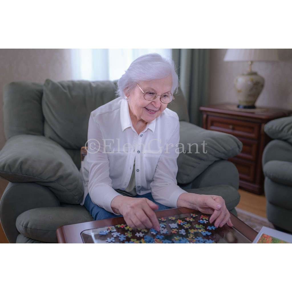 Senior woman collects puzzles and smiles