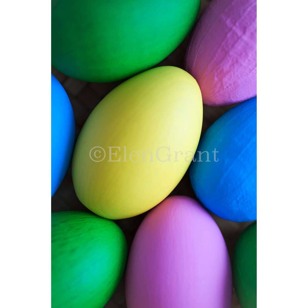 Easter eggs soft focused background