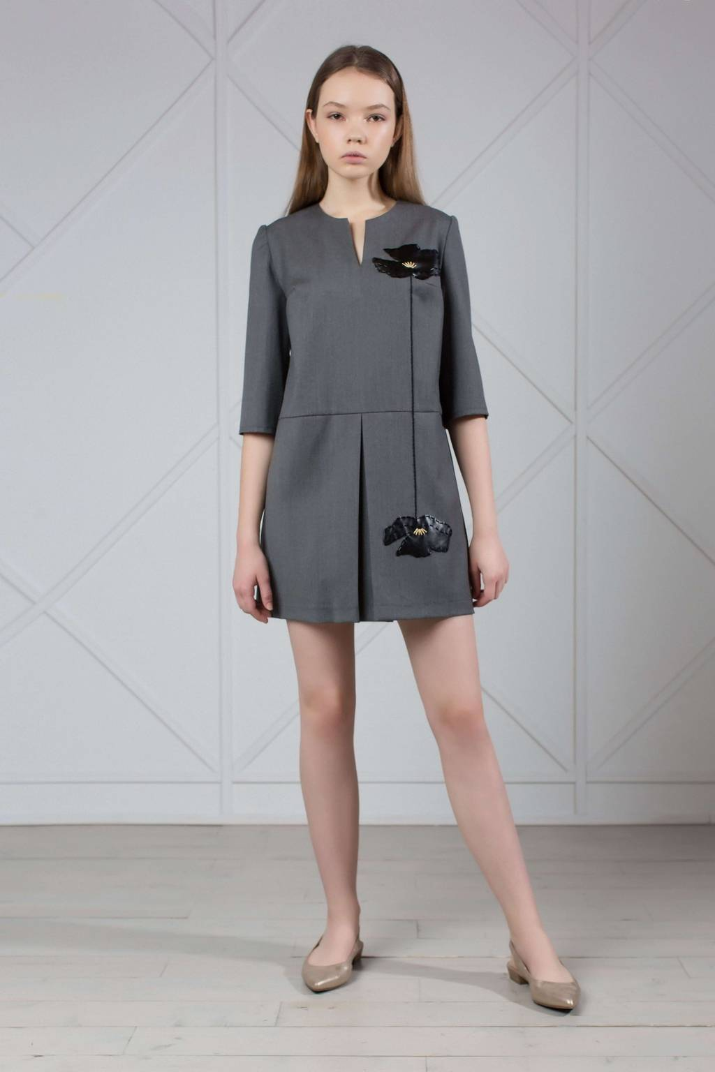 Wool mini dress with floral applique from eco-leather