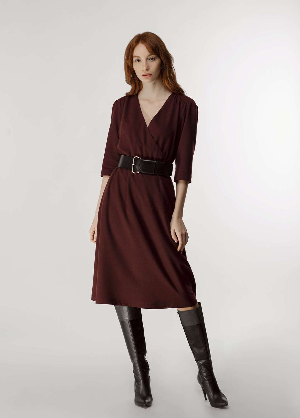 Wrap effect gathered dress in biking red