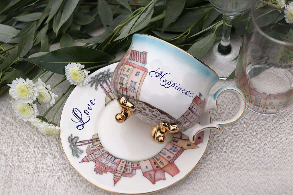 "Handmade porcelain tea cup and saucer ""Riviera"""