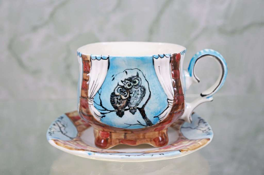 "Handmade porcelain tea cup and saucer ""Two owls"""