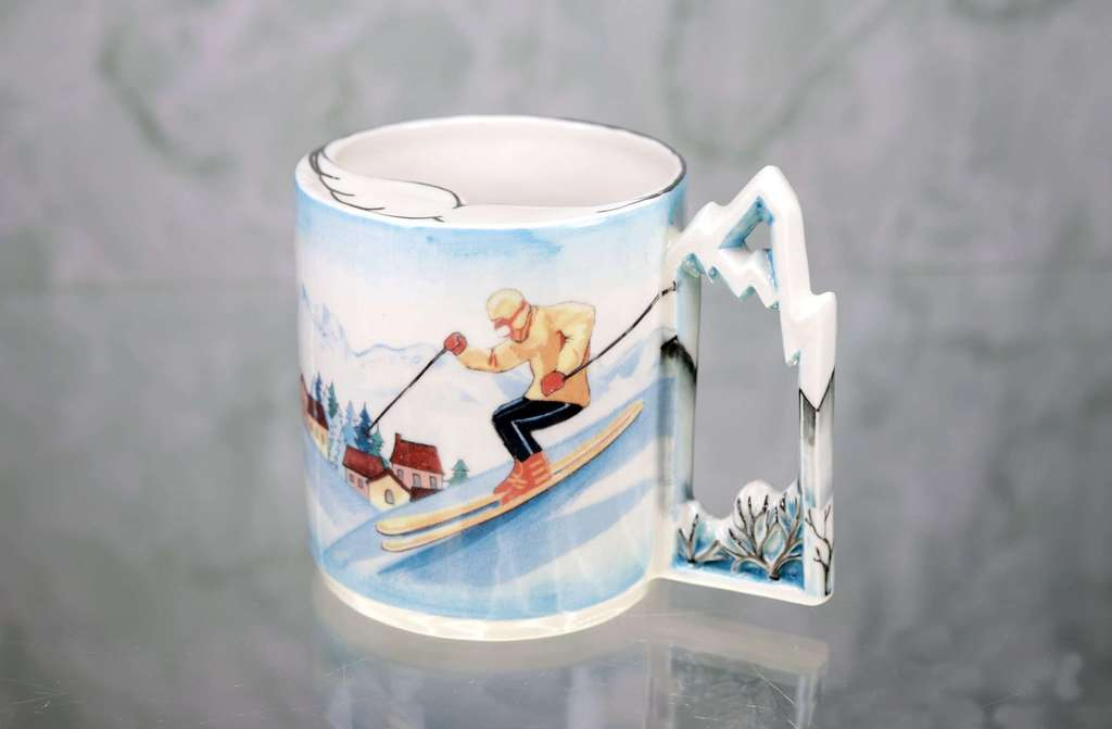 "Mustache cup ""Skier"" or ""Snowboarder"" porcelain"