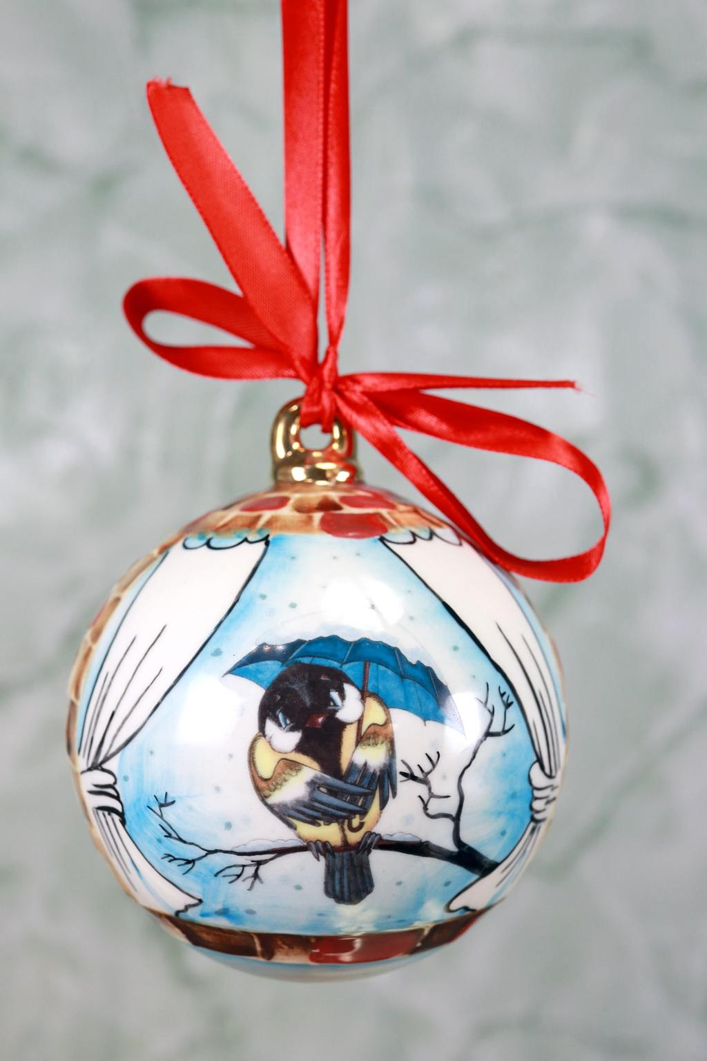 "Porcelain сhristmas ball ""Titmouse"""