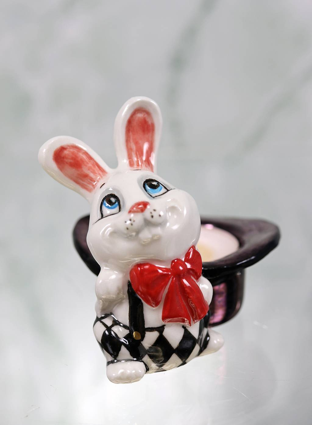 "Porcelain tealight holder ""Magician's Rabbit"""