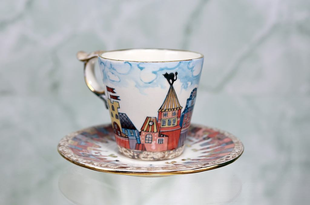"Porcelain Espresso Cup and saucer ""The old town"""