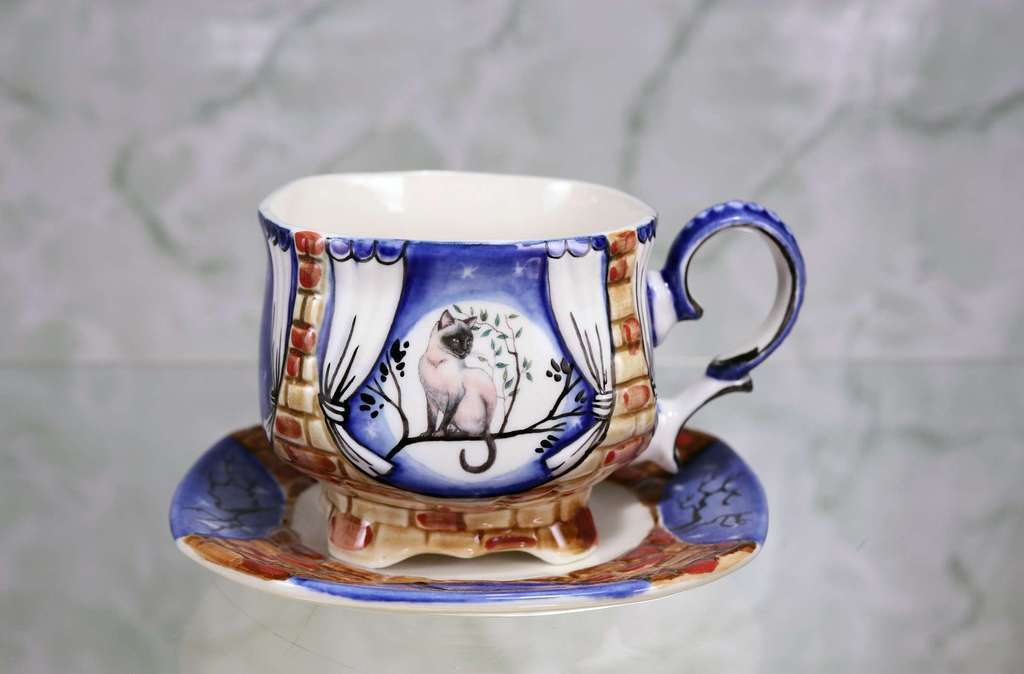 "Handmade porcelain tea cup and saucer ""Moon cat"""