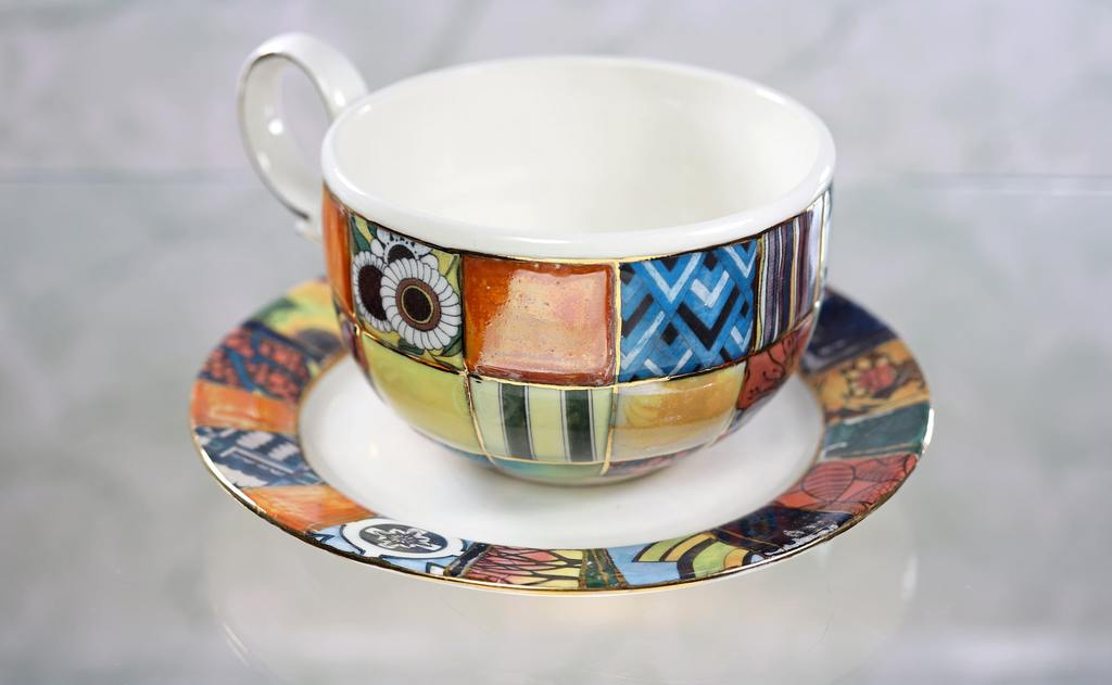 "Handmade porcelain tea cup and saucer ""Patchwork"""