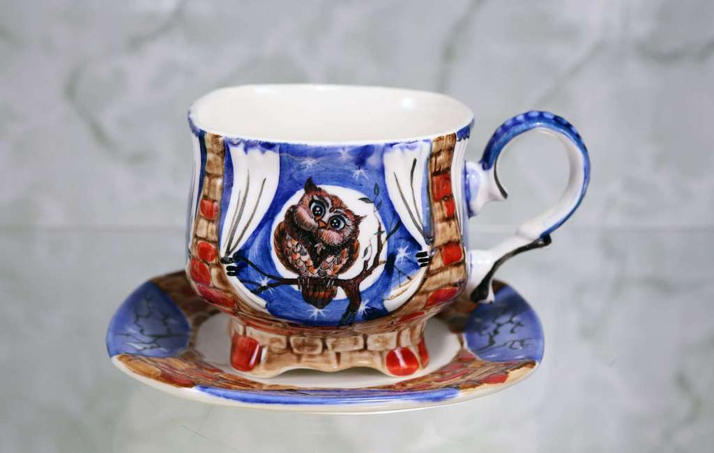 "Handmade porcelain tea cup and saucer ""Mothet owl. Night"""