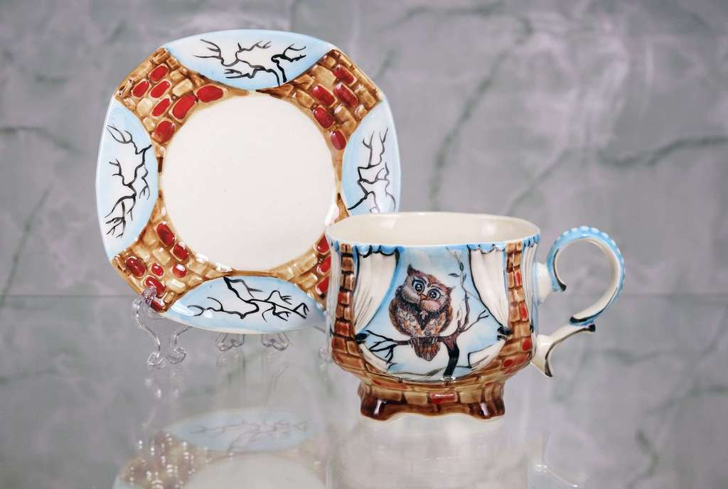 "Handmade porcelain tea cup and saucer ""Mother owl"""