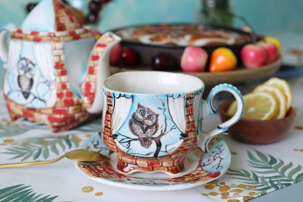 Handmade porcelain tea cup and saucer Mother owl