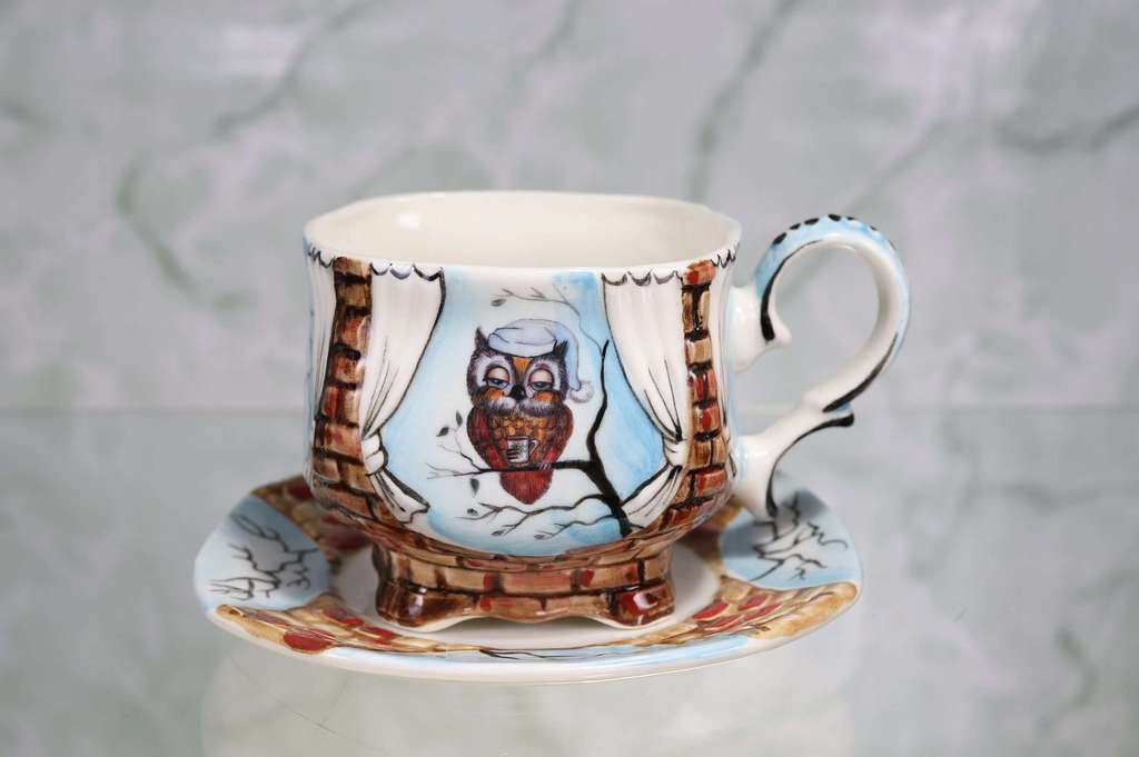 "Handmade porcelain tea cup and saucer ""Owlet in a cap"""