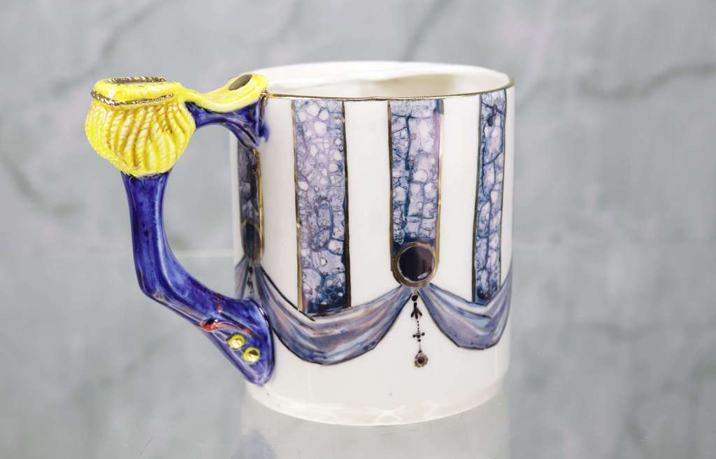 "Handmade porcelain moustache cup ""The Epaulet"""