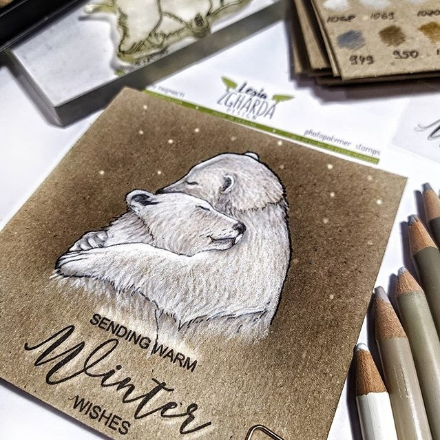 Sending warm winter wishes with stamped hugged polar bears on winter cards | Lesia Zgharda Christmas Stamps