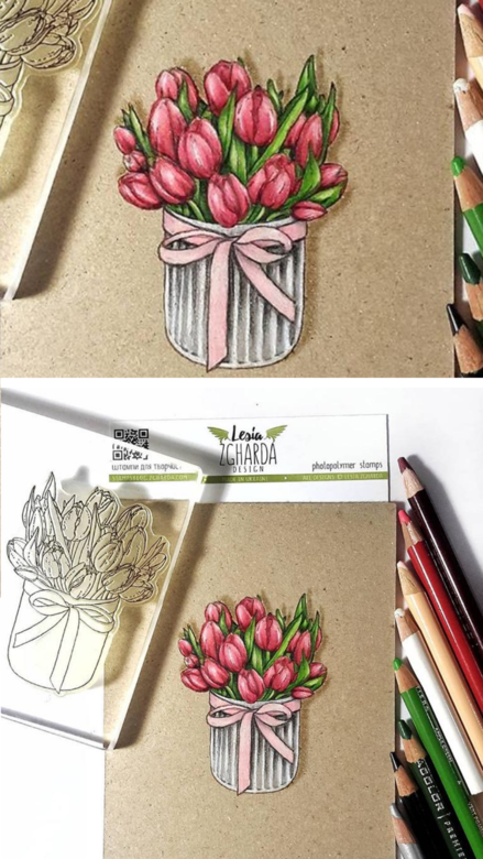 Beautiful flower bouquet greeting cards with tulip clear stamps by Lesia Zgharda. It`s greeting ideas for you spring stamped cards, handmade flower birthday cards or mother's day stamped cards. Stamps coloring with pencils PRISMACOLOR. A lot of flower stamps for card making, mothers day stamps, floral stamps, spring stamps, and others clear stamp you can find in the store lesia.zgharda.com Welcome!