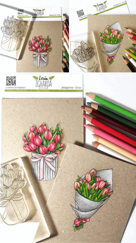 "{FL245} Stamp  ""Charming tulips"""