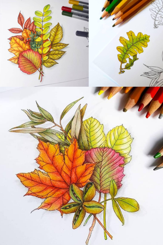 Coloring stamps with pencils ideas. Fall leaves stamps. Autumn stamp | Lesia Zgharda stamps coloring