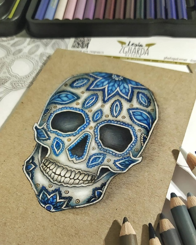 Calavera stamp coloring with pencils | Lesia Zgharda clear stamps. Сreate a celebratory card with flor de Muerto stamps, sugar skull stamp, and many sentiment stamps to the Day of the Dead / Dia de Los Muertos. Welcome to our store!