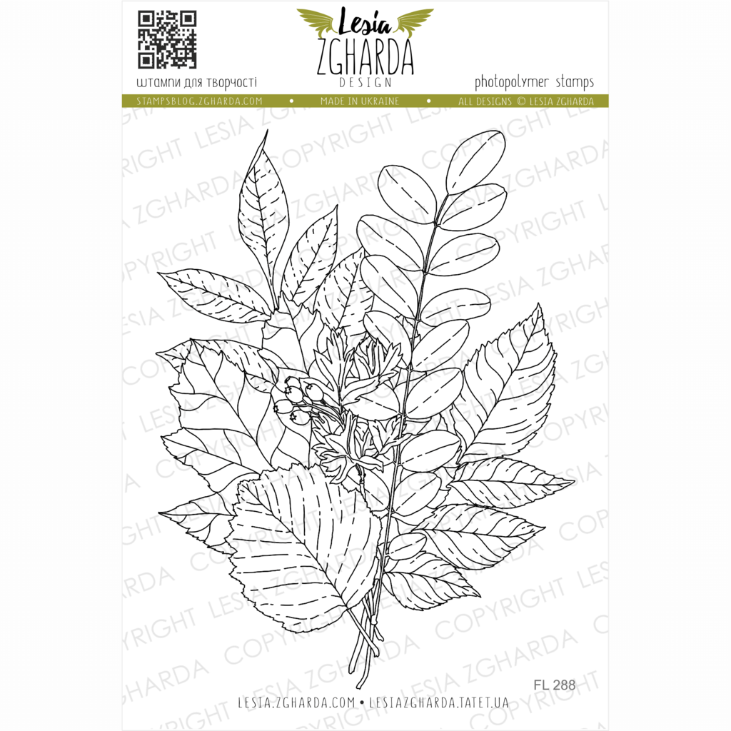Image - Fall bouquet with berries stamp (large) by Lesia Zgharda clear stamps. A lot of different fall leaf stamps, large or small, skeleton leaf stamps, and other autumn stamps you find in our store. Welcome!
