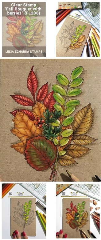 "{FL288} Stamp ""Fall bouquet with berries (large)"""