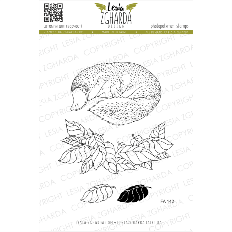 Lesia Zgharda Stamps {FA142} Platypus with leaves stamps. A lot of fauna stamps products, nature stamps, forest animals stamps, platypus stamp, leaf stamp, woodland stamps, and others clear stamp you can find in the store lesia.zgharda.com Welcome!