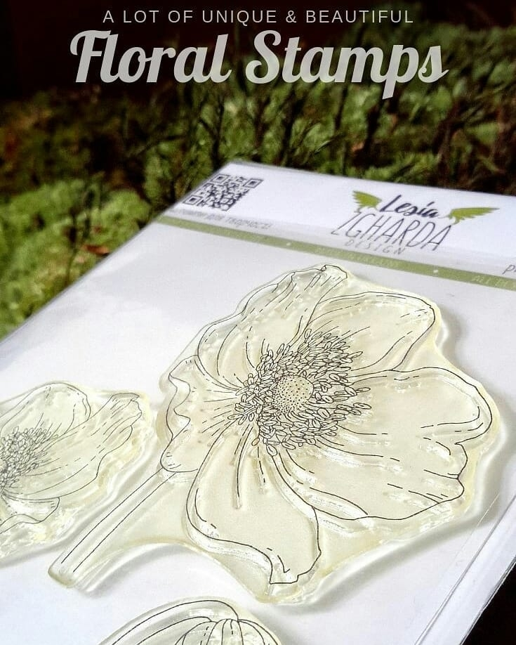 Lesia Zgharda Stamps | Anemone Stamp Set. Beautiful flowers for your mother`s day, birthday or wedding, greetings cards. Welcome to our store!