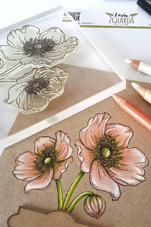 Anemone stamp set. Coloring stamps with pencils. Beautiful flower cards ideas | Lesia Zgharda clear stamp