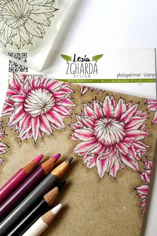 A beautiful idea for flower greetings card with clematis stamp. Pencil colored | Lesia Zgharda Stamps