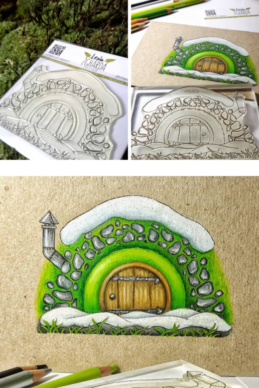 Forest card ideas with coloring stamps. Forest cave stamp | Lesia Zgharda clear stamp