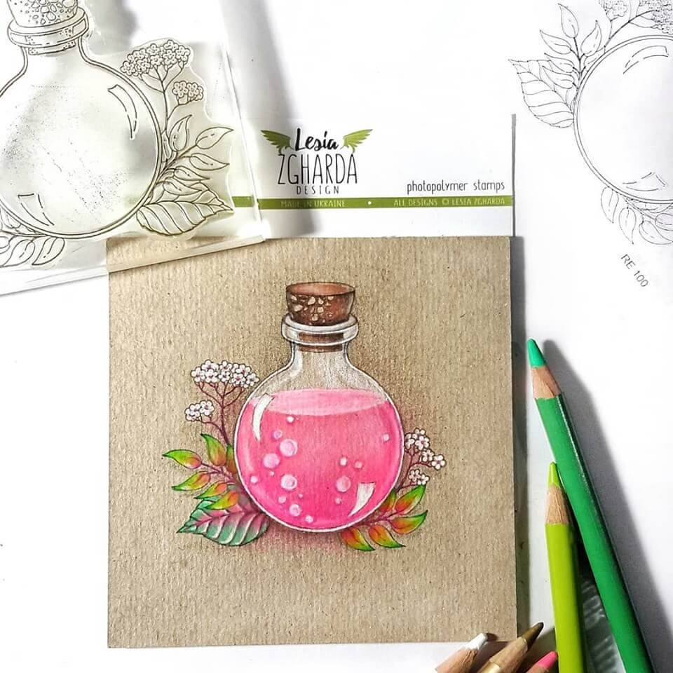 Jar and flowers card | Lesia Zgharda Stamps