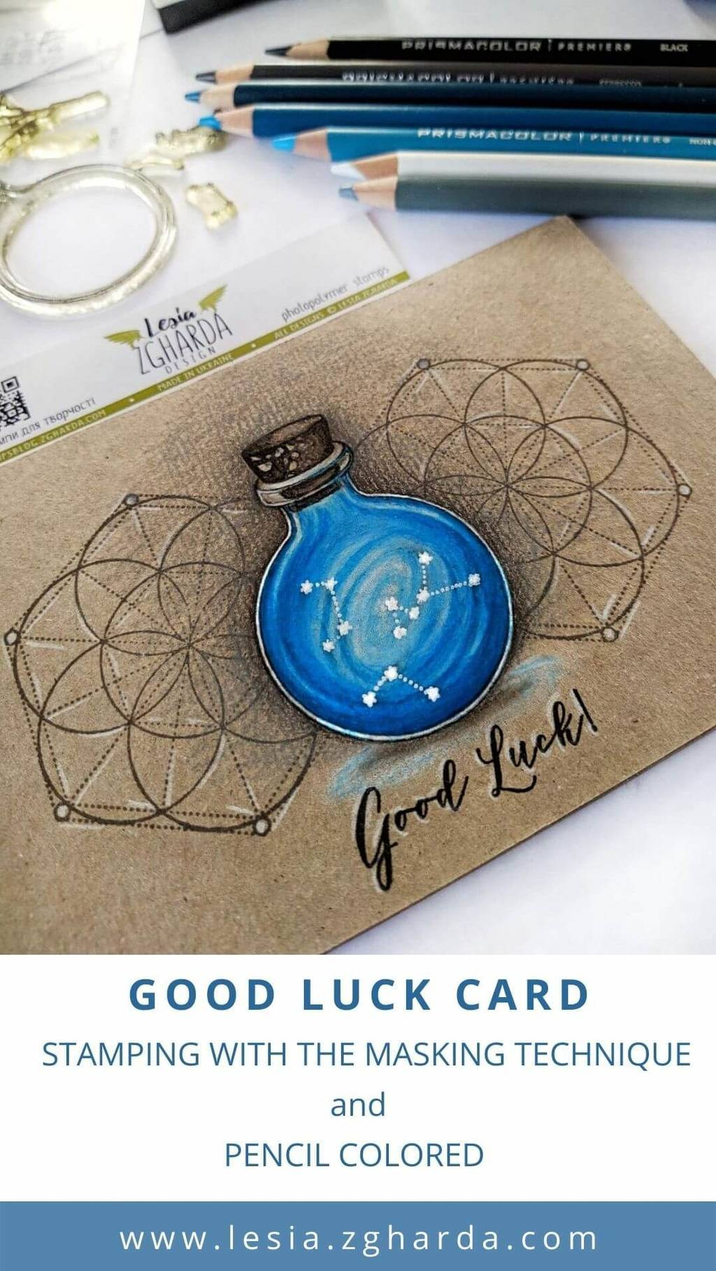 Good luck card | Lesia Zgharda Stamps. You see magic and space blue bottle with the constellations and geometric background stamps on this card. All these stamps you can order online in our store. Welcome!