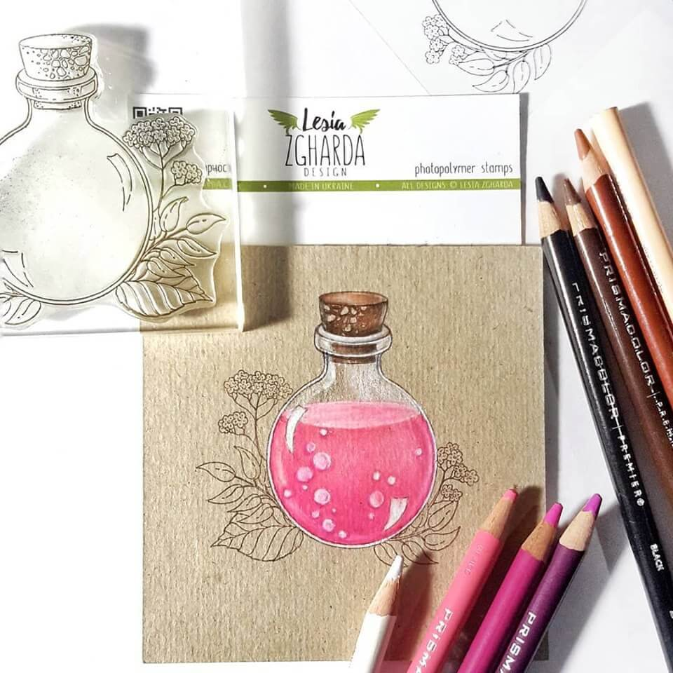Jar and flowers stamp set coloring with pencils | Lesia Zgharda Stamps