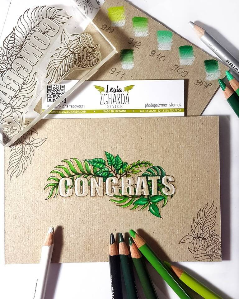 Use the congratulations stamp with the tropical leaf by Lesia Zgharda to create wedding cards congratulations, birthday greeting cards, and other congrats cards for different occasions. See more greetings stamps in our store. Welcome!