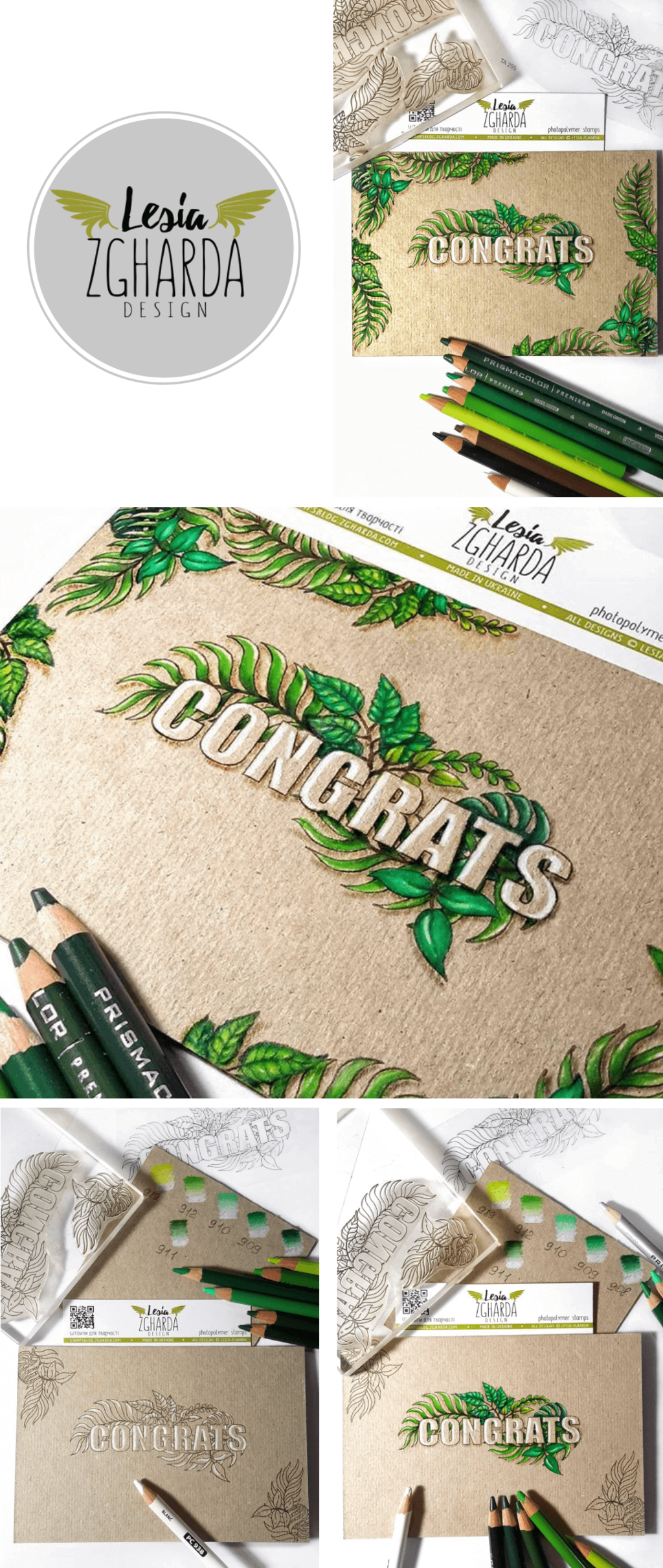 Congratulation card with the tropical leaf stamp. Use the congratulations stamp by Lesia Zgharda to create wedding cards congratulations, birthday greeting cards, and other congrats cards for different occasions. See more in our store!