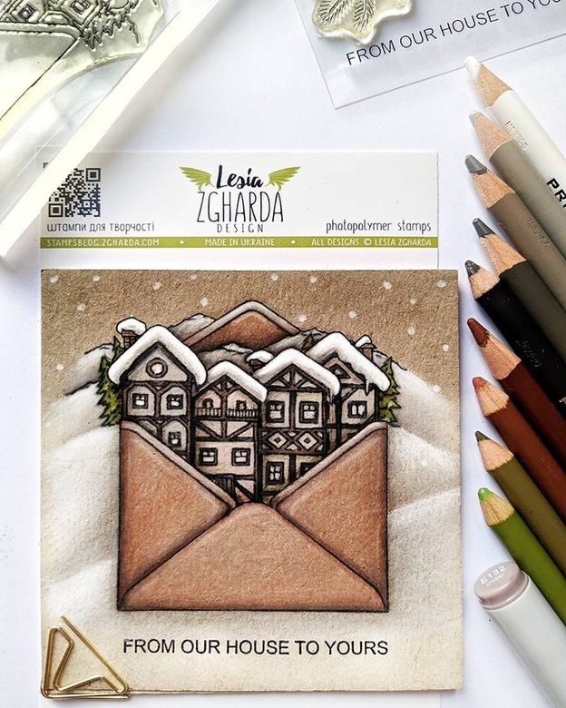 From our house to yours - Merry Christmas greeting card | Lesia Zgharda clear stamps