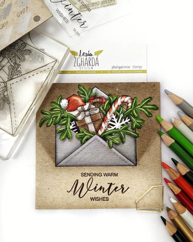 Send warm winter wishes with Christmas greeting card | Lesia Zgharda clear stamps