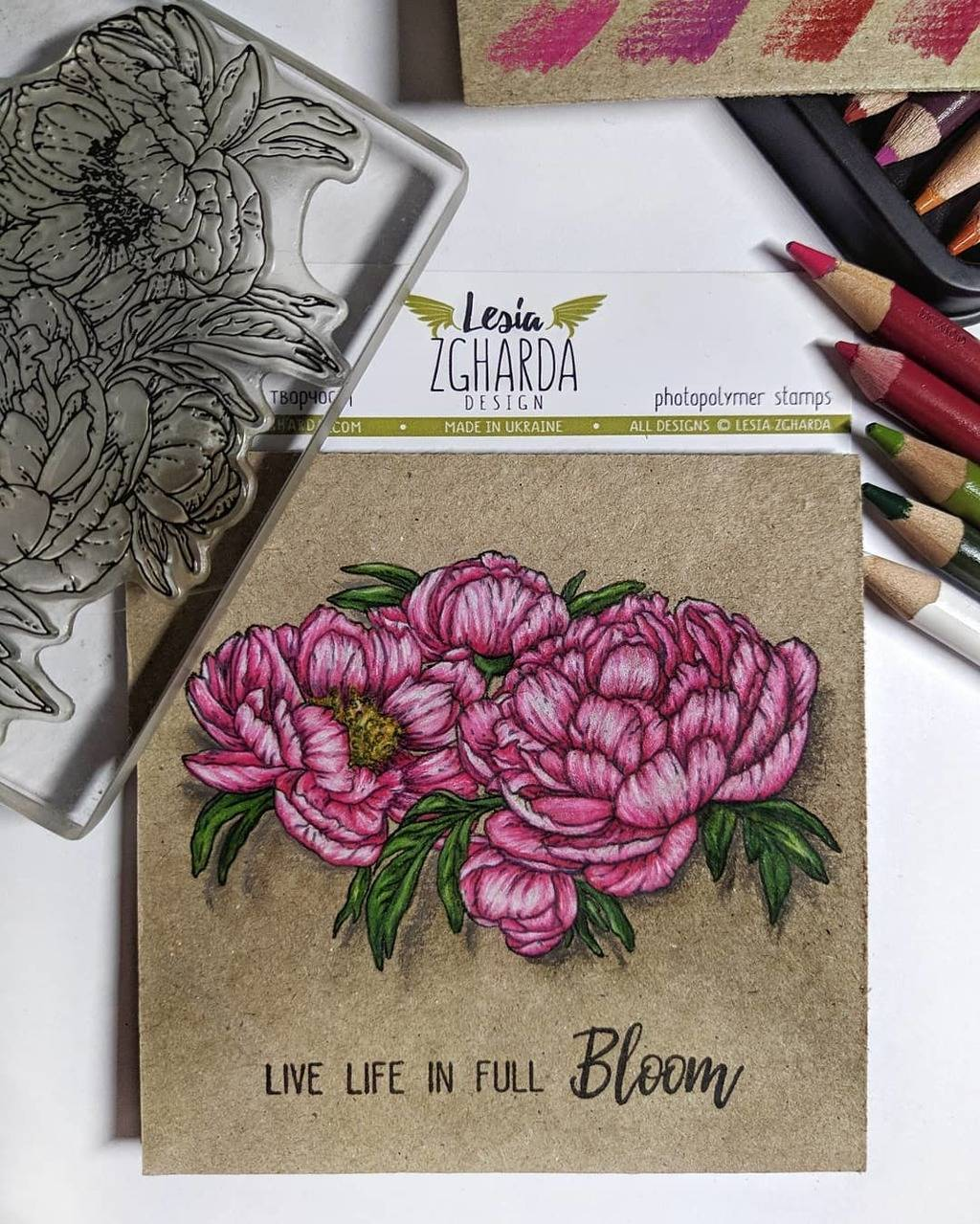 Flower greeting card | Lesia Zgharda Stamps