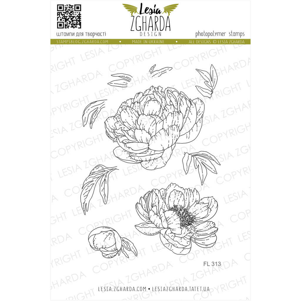 Peony stamp set | Lesia Zgharda Flower Stamps